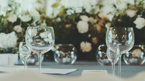 Wedding Reception Venue With White Flower Decoration Footage