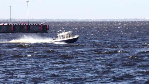 Fast motor boat in sea Footage