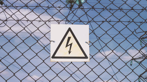 Danger of electric shock. electrical substation. Distribution and transmission Footage