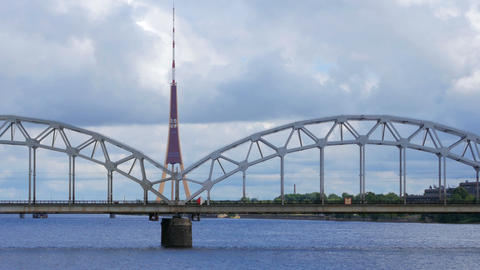 riga view with bridge over river, latvia Footage