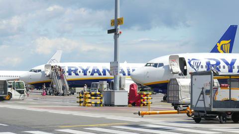 BRUSSELS - BELGIUM, AUGUST 2015: airport view, preparation of flight Footage