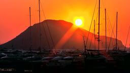 Turkey the Aegean Sea Turgutreis 056 sunset over Aegean landscape Footage