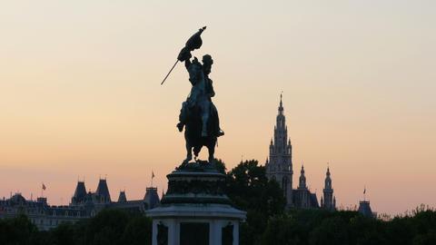 archduke charles statue on heldenplatz in habsburg palace, vienna Footage