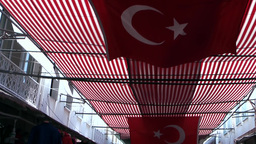 Turkey the Aegean Sea Turgutreis 065 awning in Turkish national colors Footage