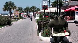 Turkey the Aegean Sea Turgutreis 071 beach promenade with restaurants Footage