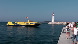 Turkey the Aegean Sea Turgutreis 079 yellow hydrofoil ferry comes into harbor Footage