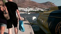 Turkey the Aegean Sea Turgutreis 081 passengers leave hydrofoil ferry Footage