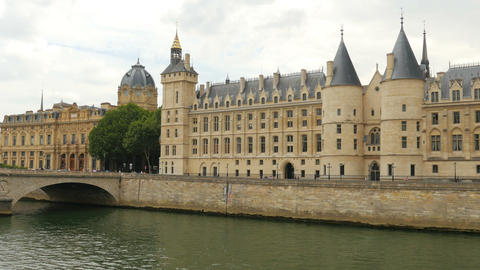 palace justice, ile de la cite islands, seine river, paris Footage