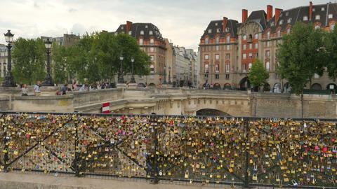 love lock bridges near notre dame de paris, france Footage