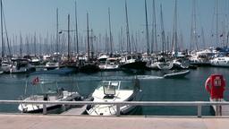 Turkey the Aegean Sea Turgutreis 008 sailing yacht masts in marina Footage