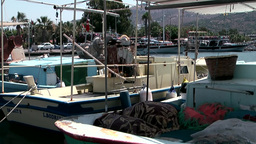Turkey the Aegean Sea Turgutreis 023 fishing boat with nets Footage
