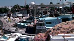 Turkey the Aegean Sea Turgutreis 026 fishing nets and boats Footage
