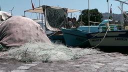 Turkey the Aegean Sea Turgutreis 028 fishing nets on land Footage