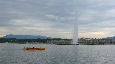 jet d'eau fountain at geneva lake, switzerland Footage