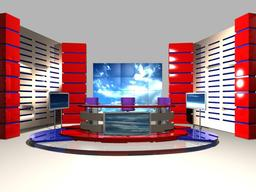 TV News Studio 004 3D Model