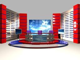 TV News Studio 004 3D Model