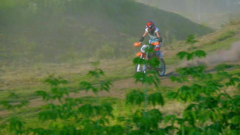 extreme sports motocross motorcycle jumping on a race on high speed rail amped Footage