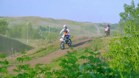 Motocross jump on dirt track. Beautiful nature landscape with track in front and Footage