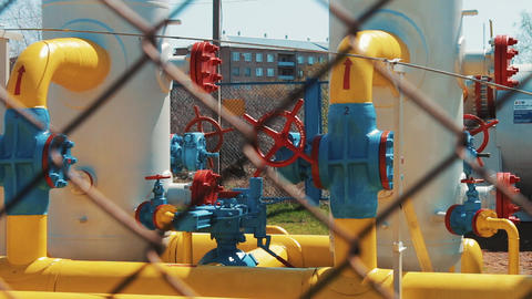 Gas pipeline in the factory. oil industry. The gas industry. Station for Footage