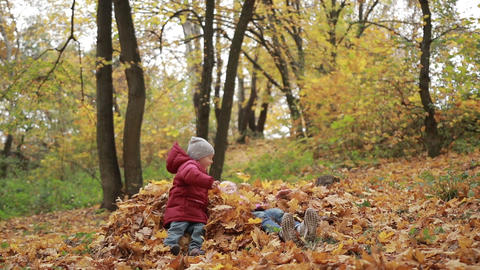 Smiling children jumping in pile of autumn leaves Footage