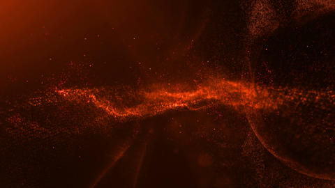 Red Digital Wave Particle Flow Animation