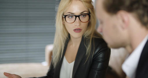 Extreme close up of business woman using tablet computer on a meeting Footage