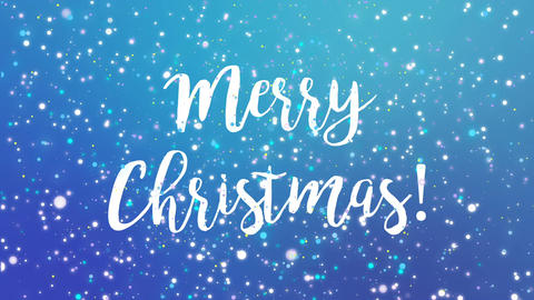 Sparkly blue Merry Christmas greeting card video Animation
