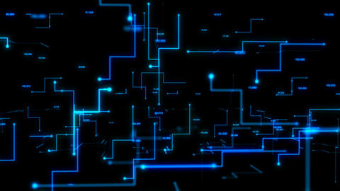 4K Animation 3D abstract dark background moving dot and line metaphor cyber Footage