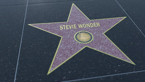 Hollywood Walk of Fame star with STEVIE WONDER inscription. Editorial clip Live Action