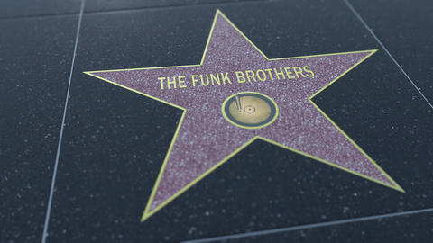 Hollywood Walk of Fame star with THE FUNK BROTHERS inscription. Editorial clip Footage