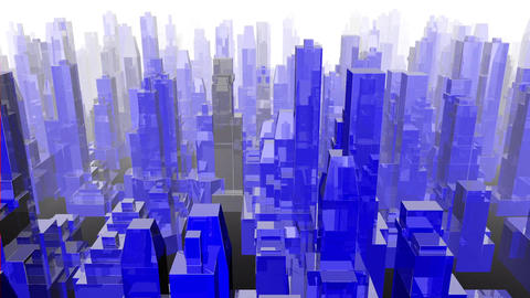Blue buildings city flyby loop Animation