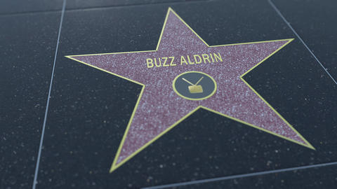 Hollywood Walk of Fame star with BUZZ ALDRIN inscription. Editorial clip Live Action