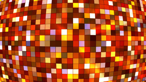 Broadcast Twinkling Hi-Tech Squares Globe, Orange, Abstract, Loopable, 4K Animation