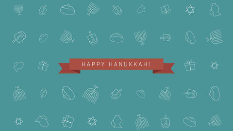 Hanukkah holiday flat design animation background with traditional symbols Image