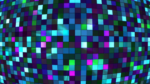 Broadcast Twinkling Hi-Tech Squares Globe, Turquoise, Abstract, Loopable, 4K Animation