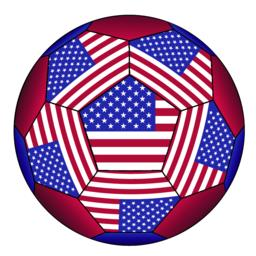 Soccer ball with United States flag Vector