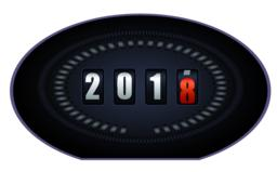 Countdown timer on speedometer - New Year 2018 Vector