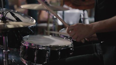 Drummer Plays Drums Kit Footage