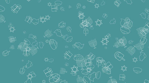 Hanukkah holiday flat design animation background with traditional symbols Animación