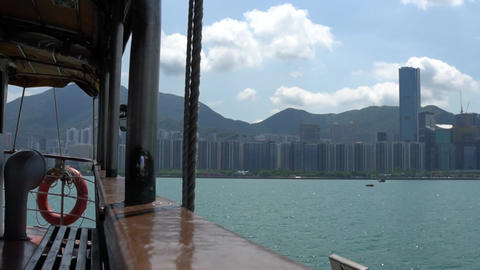 Hong Kong harbor on ferry Live Action