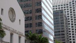 USA Florida Miami First Miami Presbyterian Church with modern skyscrapers Image