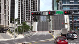 USA Florida Miami opened Miami River drawbridge in Brickell Avenue Footage