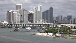 USA Florida Miami McArthur Causeway and buildings at Margaret Pace Park Footage