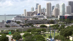USA Florida Miami view to Bayside Park and Brickell district Footage