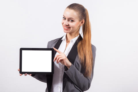 modern young business woman in a business suit on a white backgr Foto