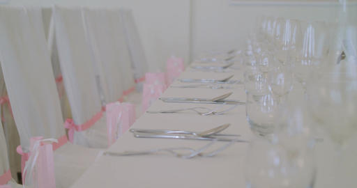decorated table for a wedding dinner Filmmaterial