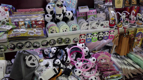 Shop Selling Panda Toys Gifts Souvenirs Presents In Chengdu China Footage