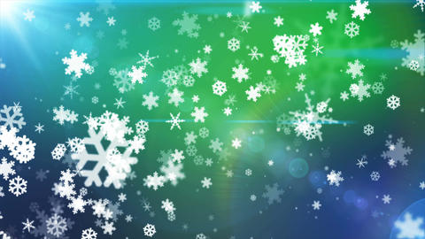 Broadcast Snow Flakes, Green Blue, Events, Loopable, 4K Animation