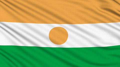 Niger Flag, with real structure of a fabric Animation