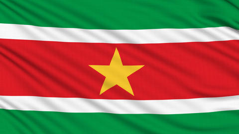 Suriname Flag, with real structure of a fabric Animation